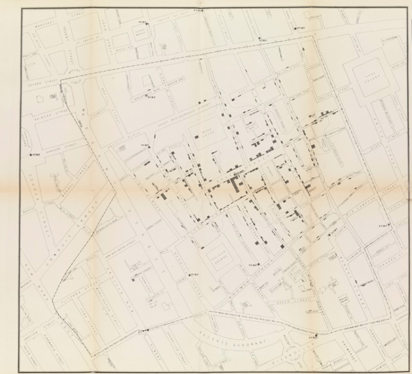 John Snow's map of cholera deaths in an 1854 London outbreak/Wellcome Collection
