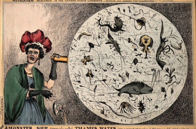 "An 1828 cartoon, ""Monster soup commonly called Thames Water, being a correct representation of that precious stuff doled out to us!!!""/Wellcome Collection"