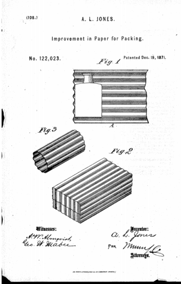 Albert Jones' 1871 patent drawing for corrugated paper packing