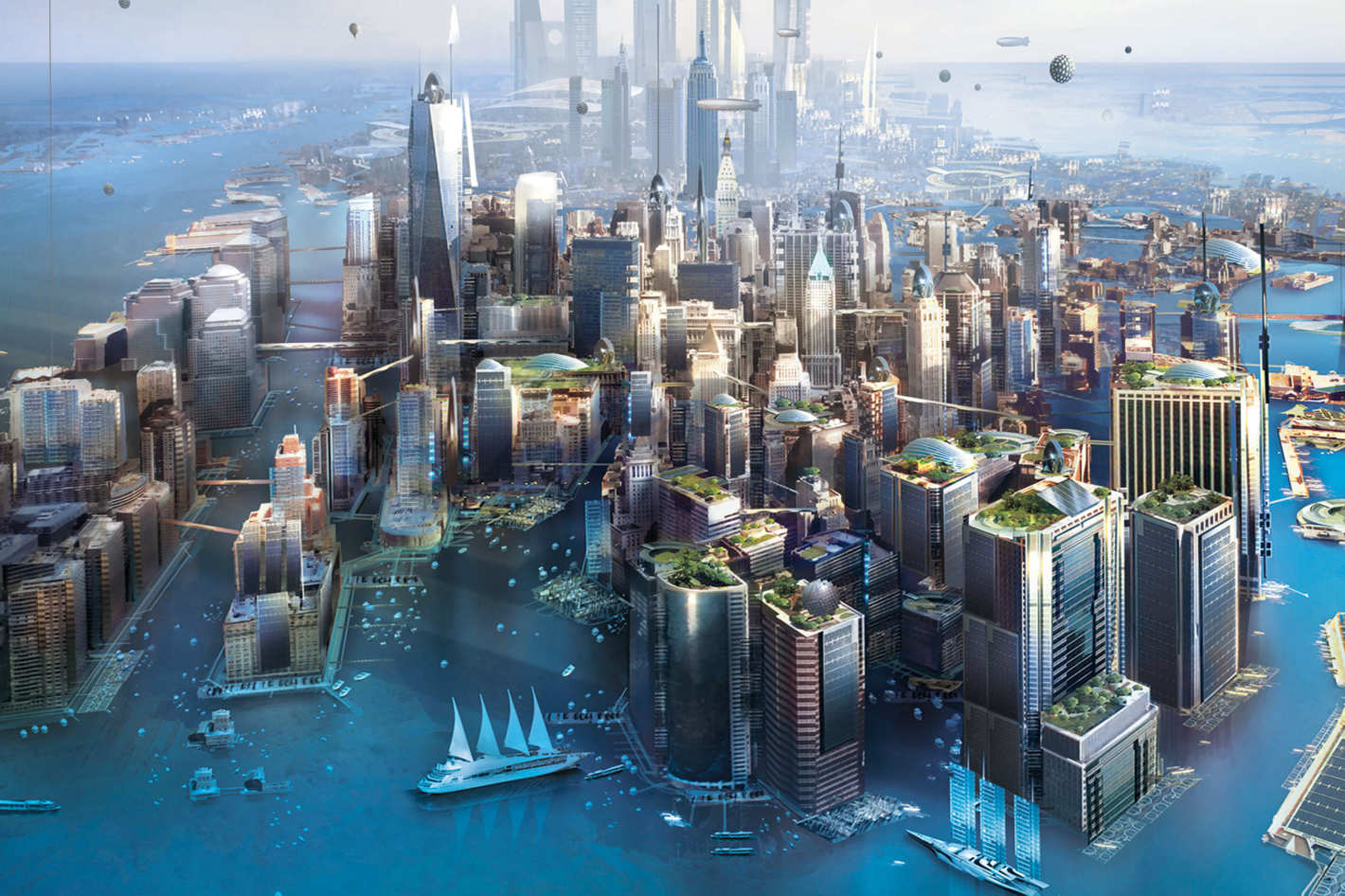 Cover of New York 2140. Illustration by Stephan Martiniere. Design by Kirk Benshoff.