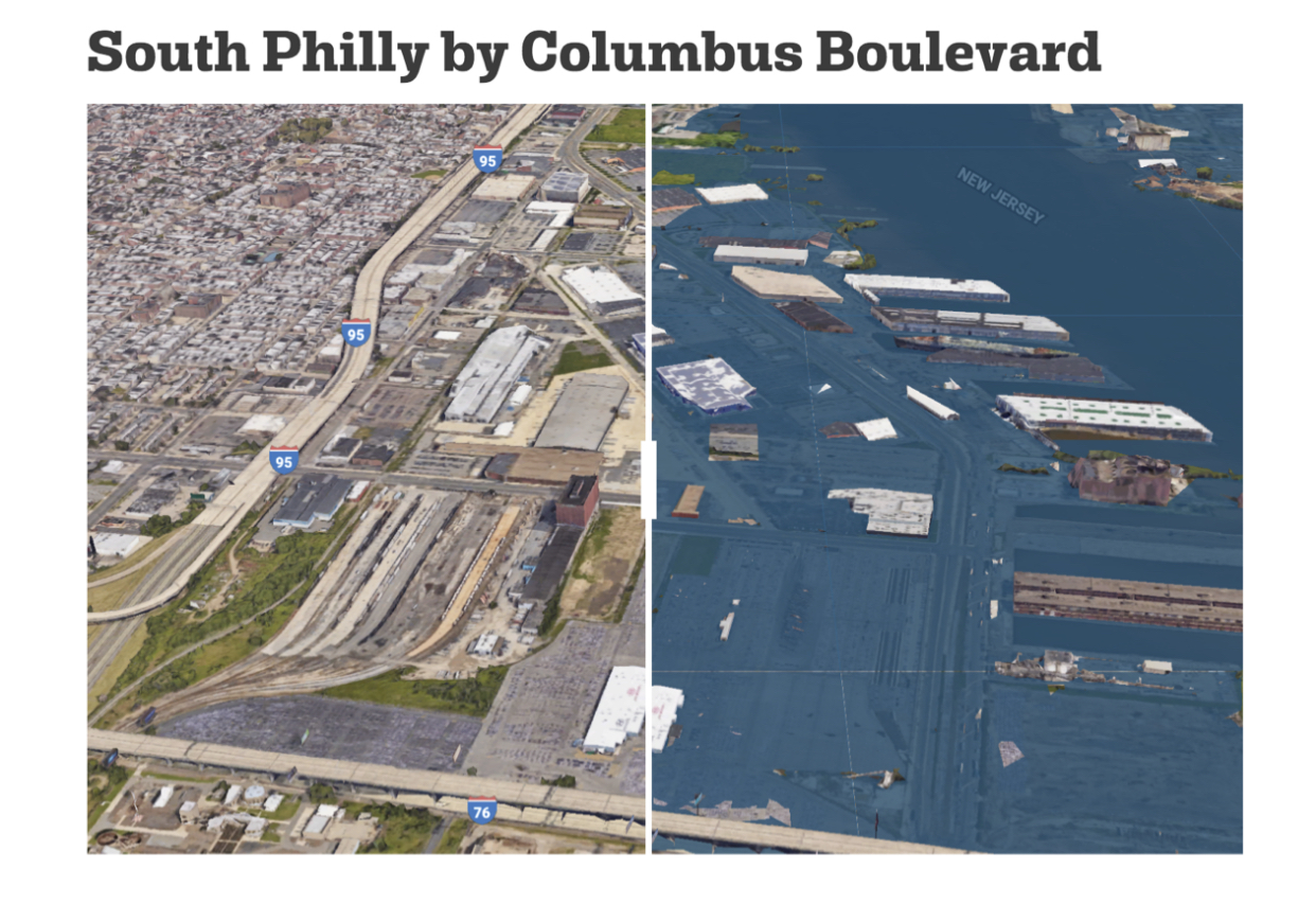 Google Earth and Climate Central Visualization of Philadelphia in 2100 with 4 degrees warming