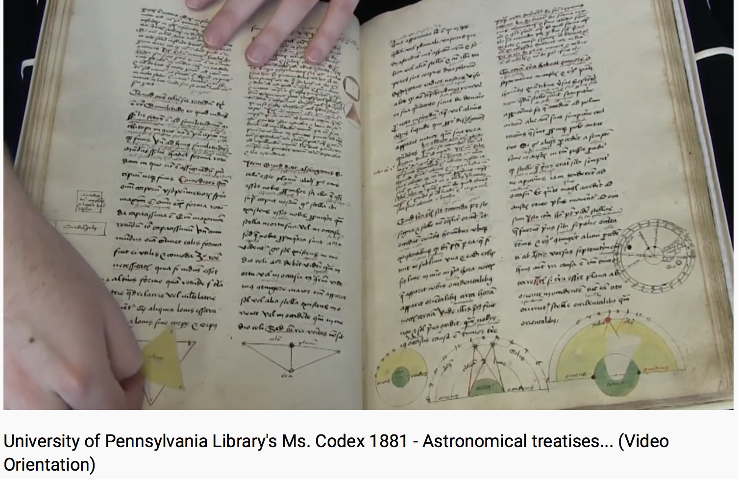 The Schoenberg Institute's Curator of Manuscripts, Nicholas Herman, manipulates a volvelle in his video orientation to Kislak Center for Special Collections, Rare Books and Manuscripts, MS Codex 1881.