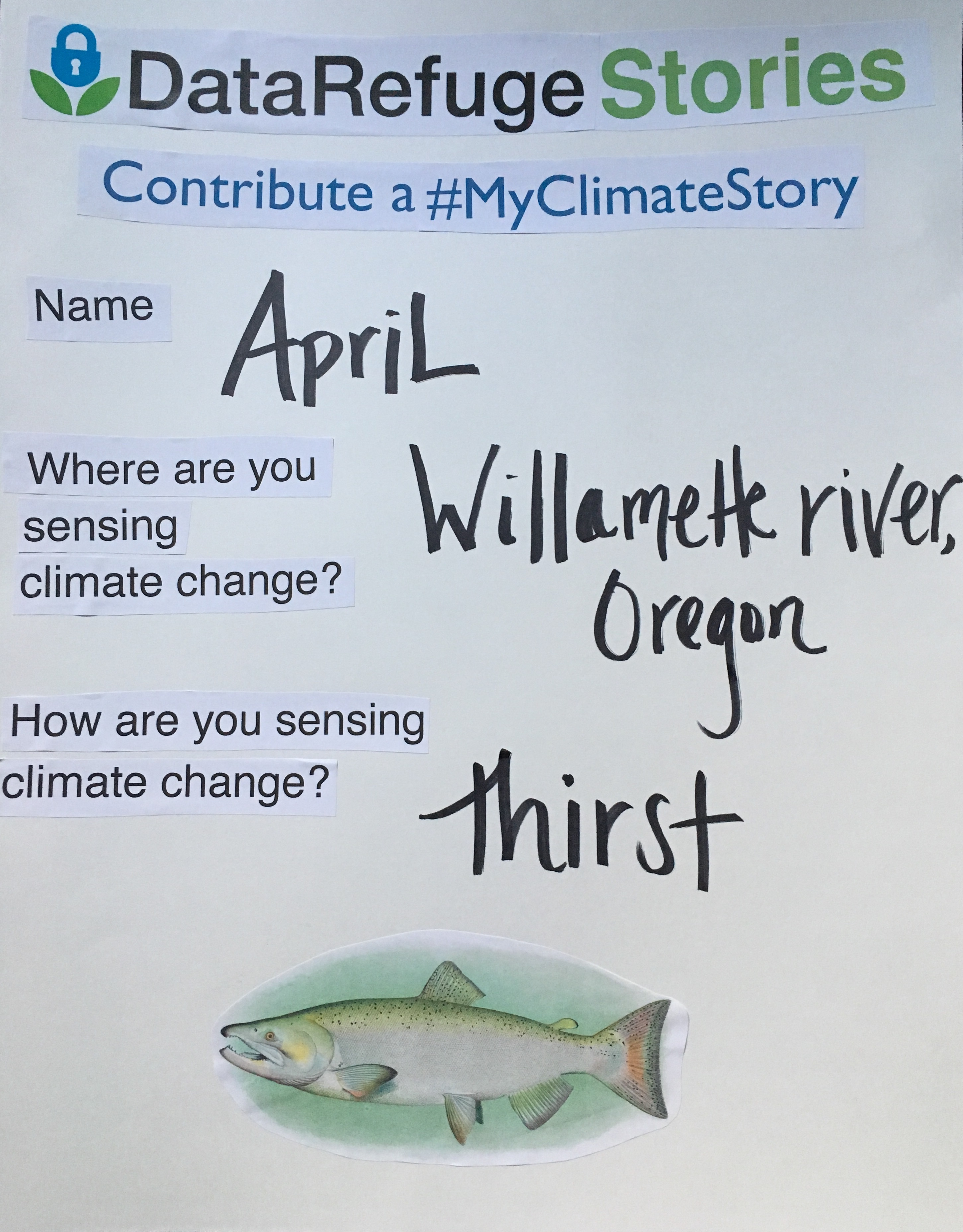A poster depicting the My Climate Story Submission Form with an image of a fish from the Willamette River, OR