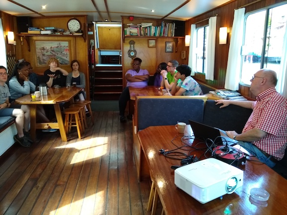 Image of students on the houseboat in the Netherlands