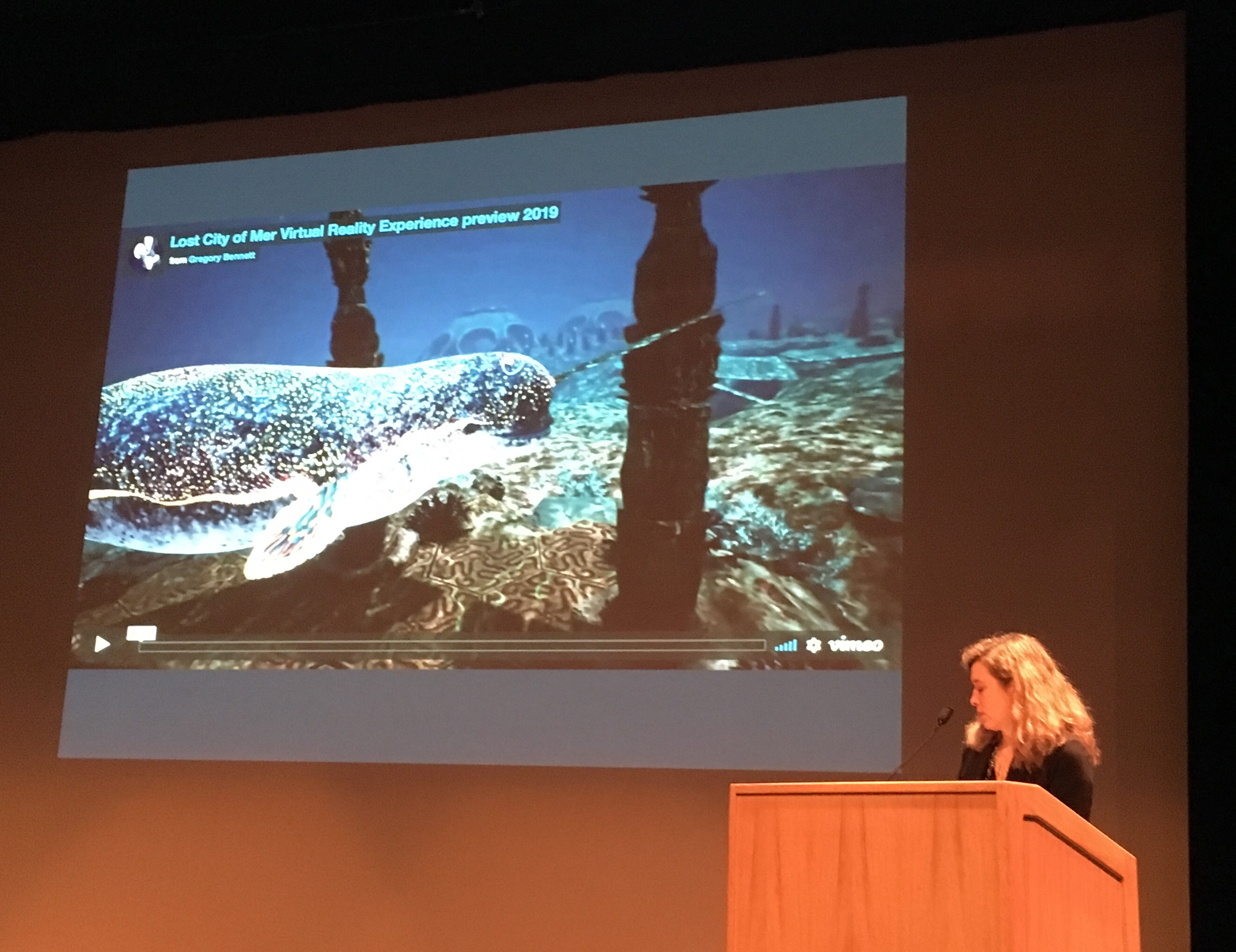 Liz Canner presenting on Lost City of Mer
