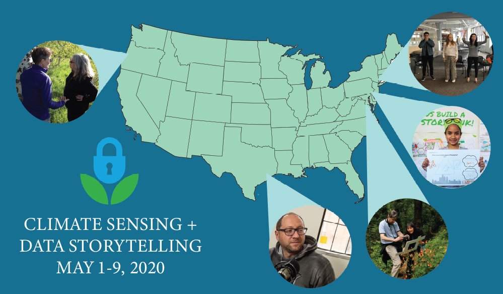 this map shows Climate Sensing and Data Storytelling partners across the country with a blue background and the Data Refuge logo in the bottom corner