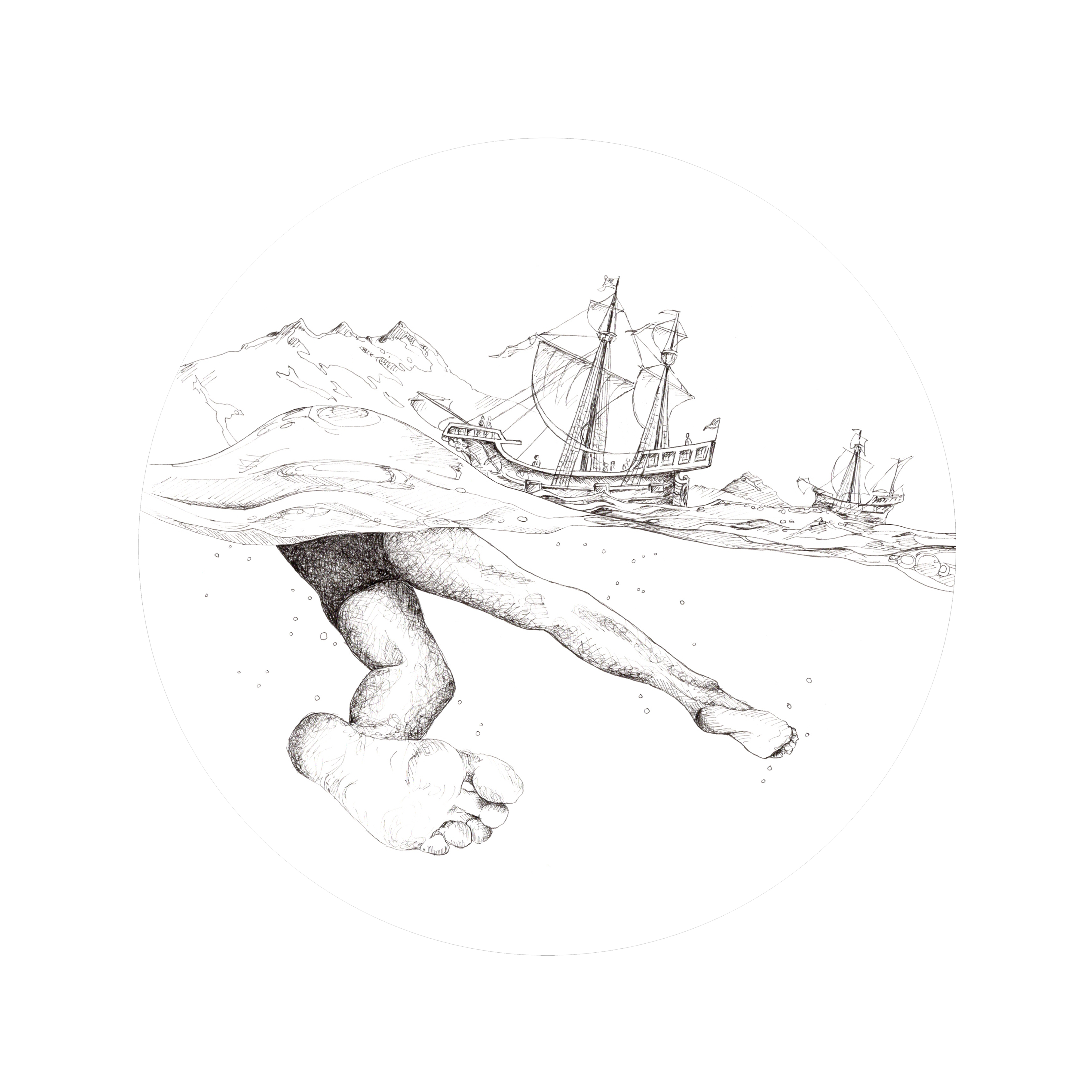 Line drawing of swimming legs under the waves and a ship sailing over top
