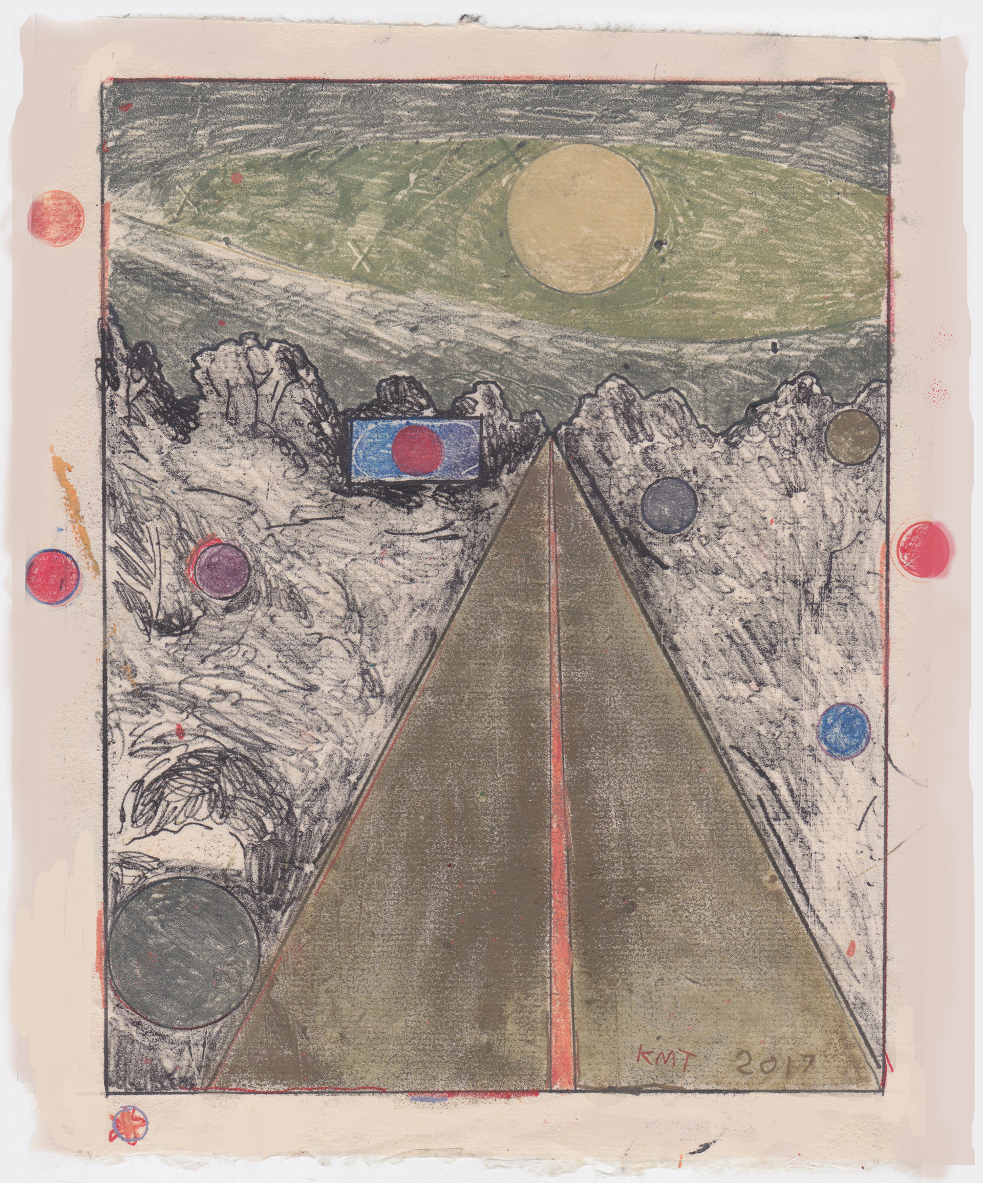 print of a road disappearing into a horizon, the sky is green, the hills are white, the sun is yellow