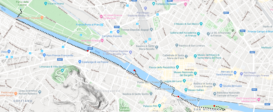 map of the walking route