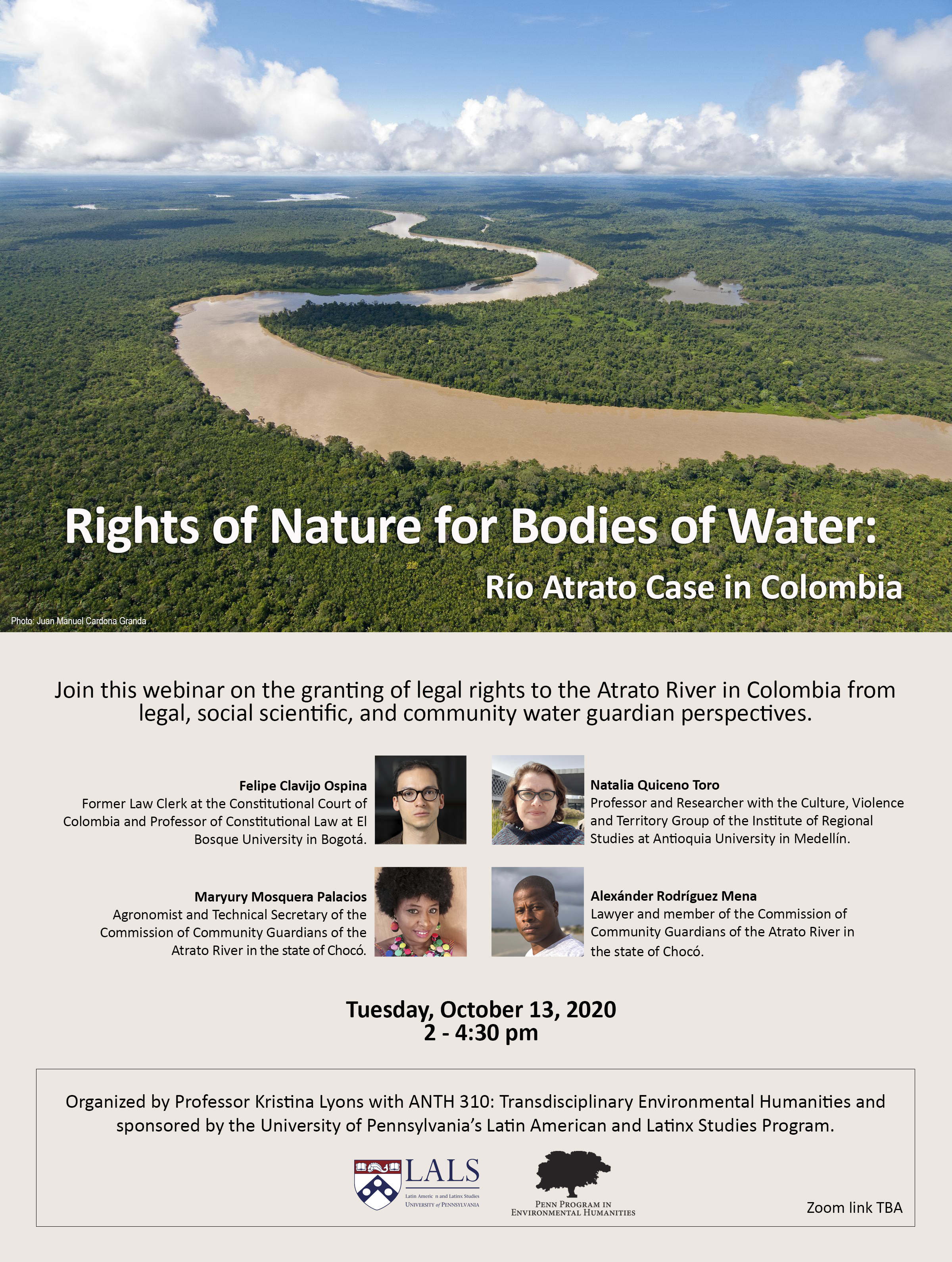 This is an event flyer for Rights of Nature for Bodies of Water displaying a photo of the Río Atrato