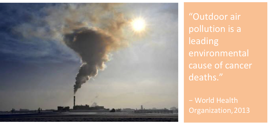 "Image of smoke stack emitting pollution under a blazing sun. Image next to the quote, ""Outdoor air pollution is a leading environmental cause of cancer deaths."" - World Health Organization, 2013"