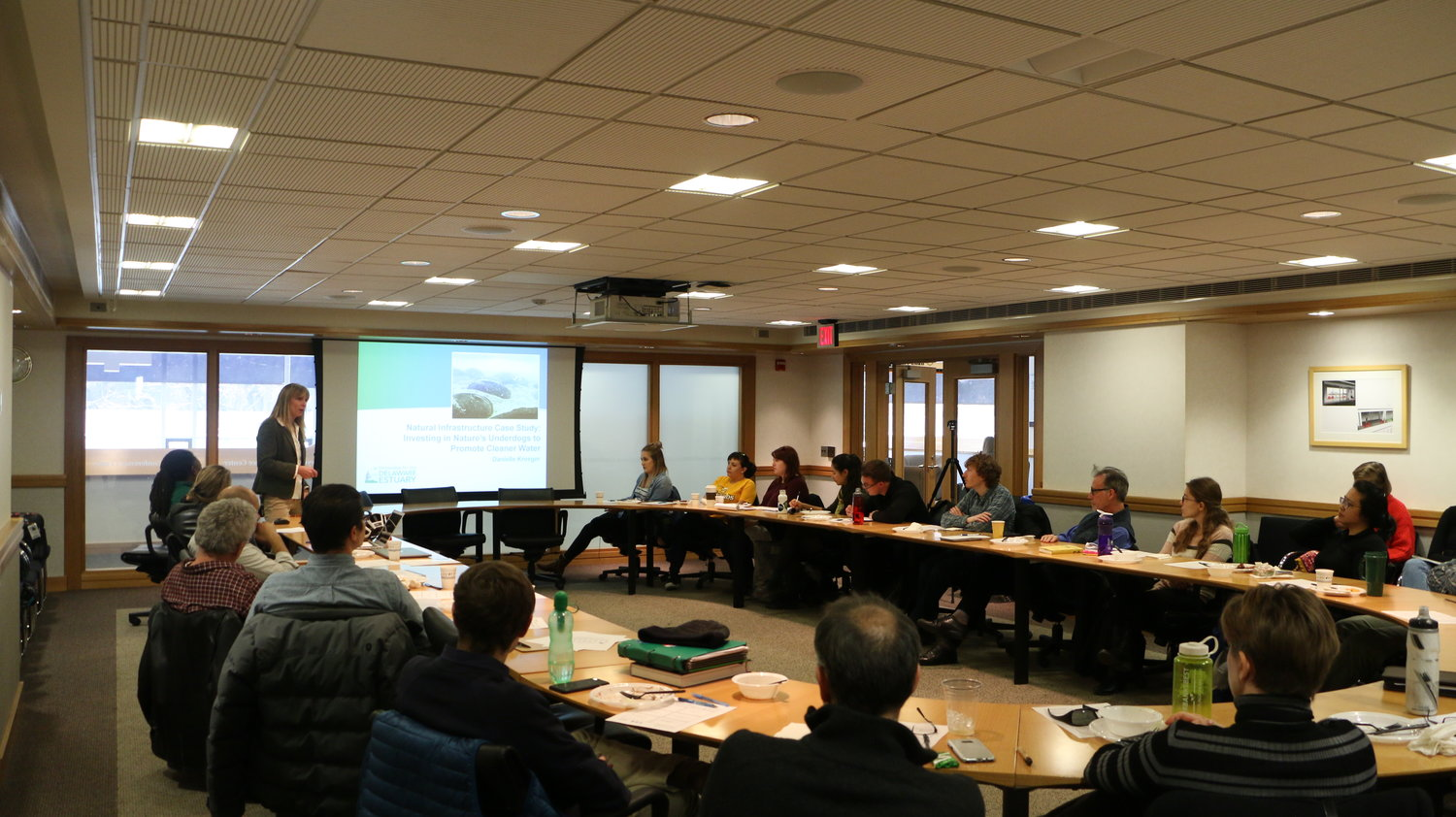 Danielle Kreeger leading discussion at the Schuylkill Corps' bi-weekly seminar this past Fall.