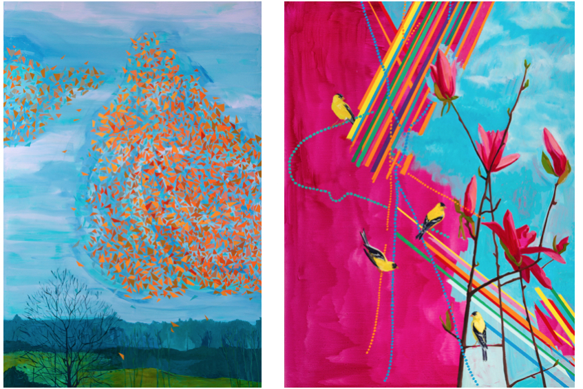 "L-R: Deirdre Murphy, ""Spontaneous Order,"" Oil on Canvas, 60"" x 40,"" 2015; Deirdre Murphy, ""Spring Jewel,"" Oil on Canvas, 46"" x 38,"" 2015 (Courtesy of Gross McCleaf Gallery.)"