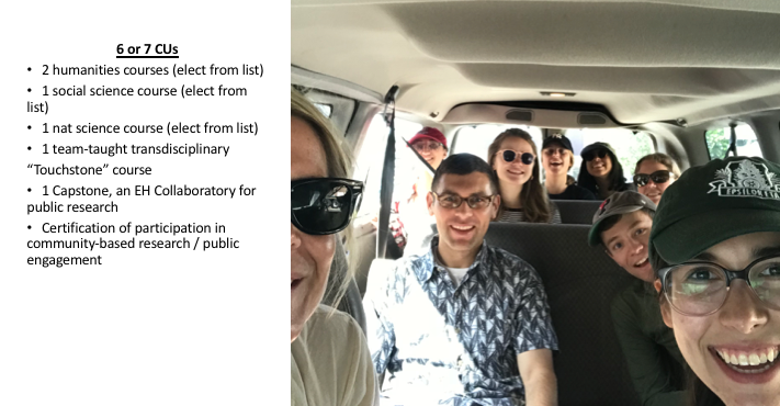 "students smiling in a van with text on the side reading: 6 or 7 CUs 2 humanities courses (elect from list) 1 social science course (elect from list) 1 nat science course (elect from list) 1 team-taught transdisciplinary ""Touchstone"" course 1 Capstone, an EH Collaboratory for public research Certification of participation in community-based research / public engagement"