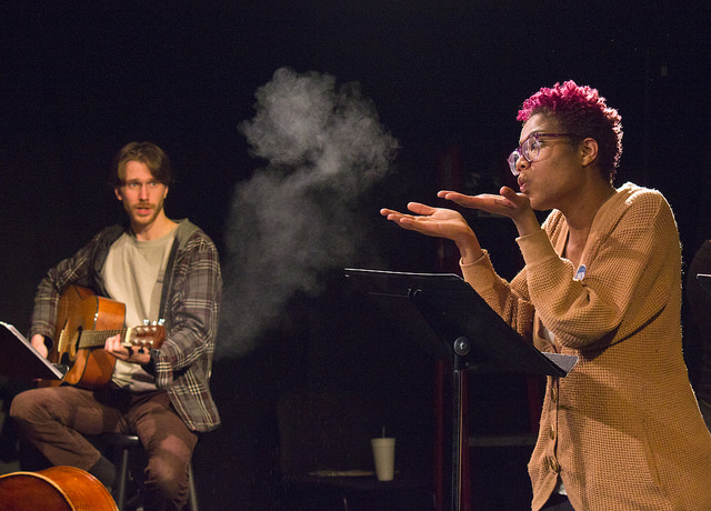 This course is based on ethnographic and oral history research in Ambler, Pennsylvania, that is the basis of environmental humanities work, and introduces students to methods of public scholarship. The oral histories resulted in a play performance in Ambler. Photo by Conrad Erb