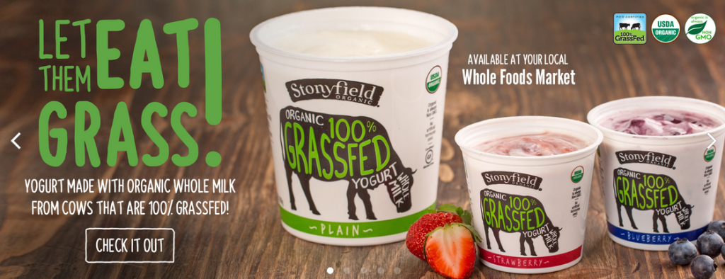Advertisement from Stonyfield Organic yogurt, 100% grassfed. From the Stonyfield website, accessed 2016.