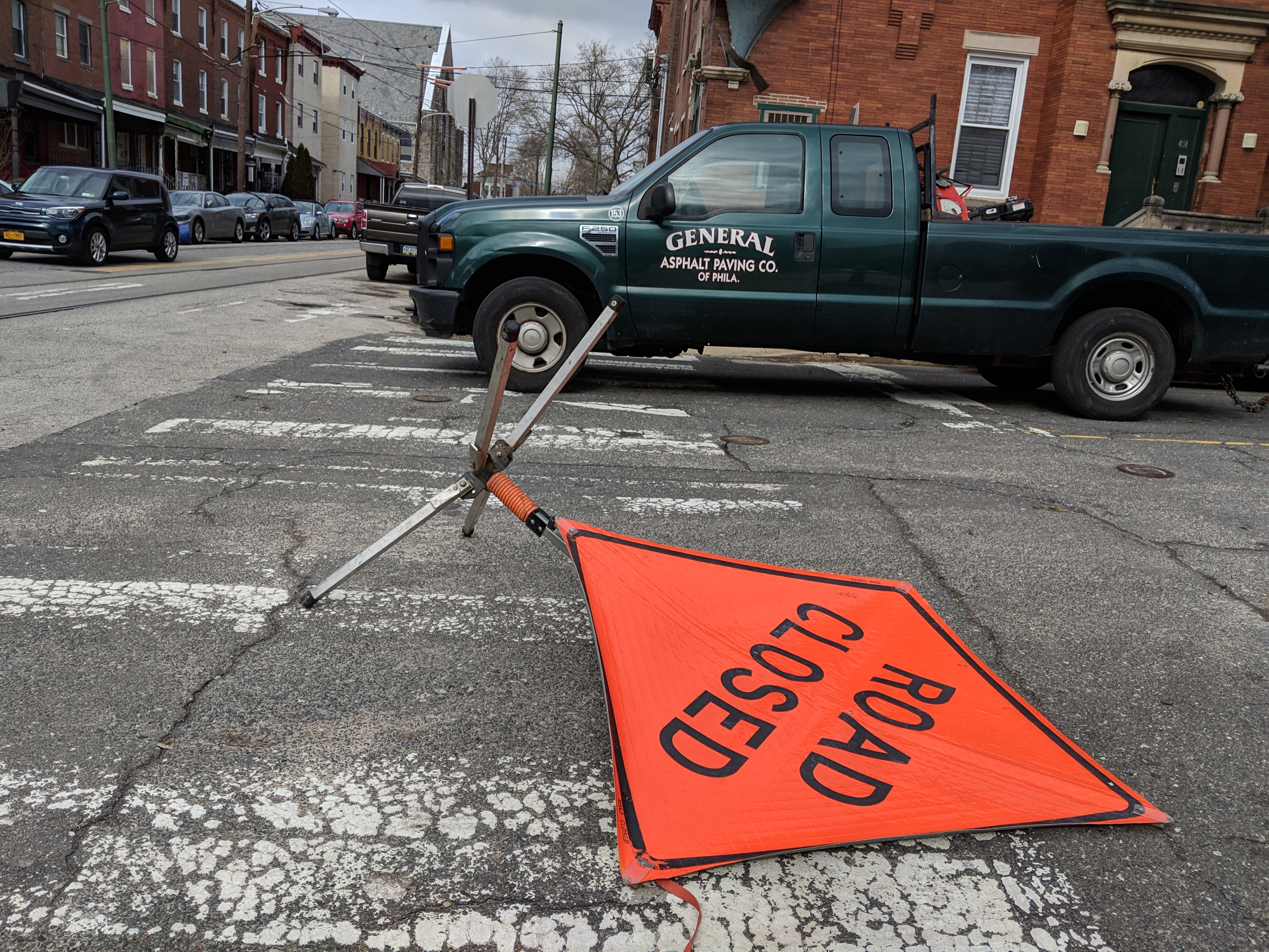 Photo of a sign saying Road Closed in Philadelphia.