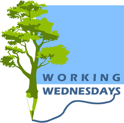 Working Wednesdays logo of a tree that sharpens to a pencil point and text