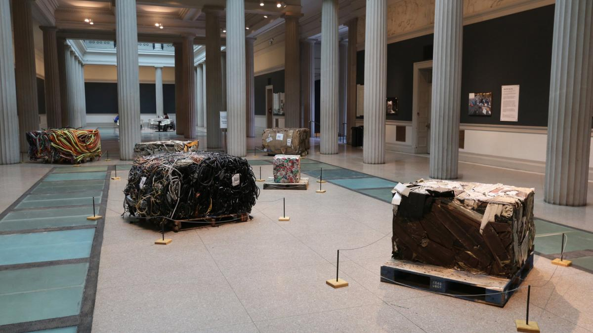 Bales of local waste in Wildcat Hauling exhibition at the Corcoran School of Art & Design, Washington DC. 2016. Photo by FICTILIS.