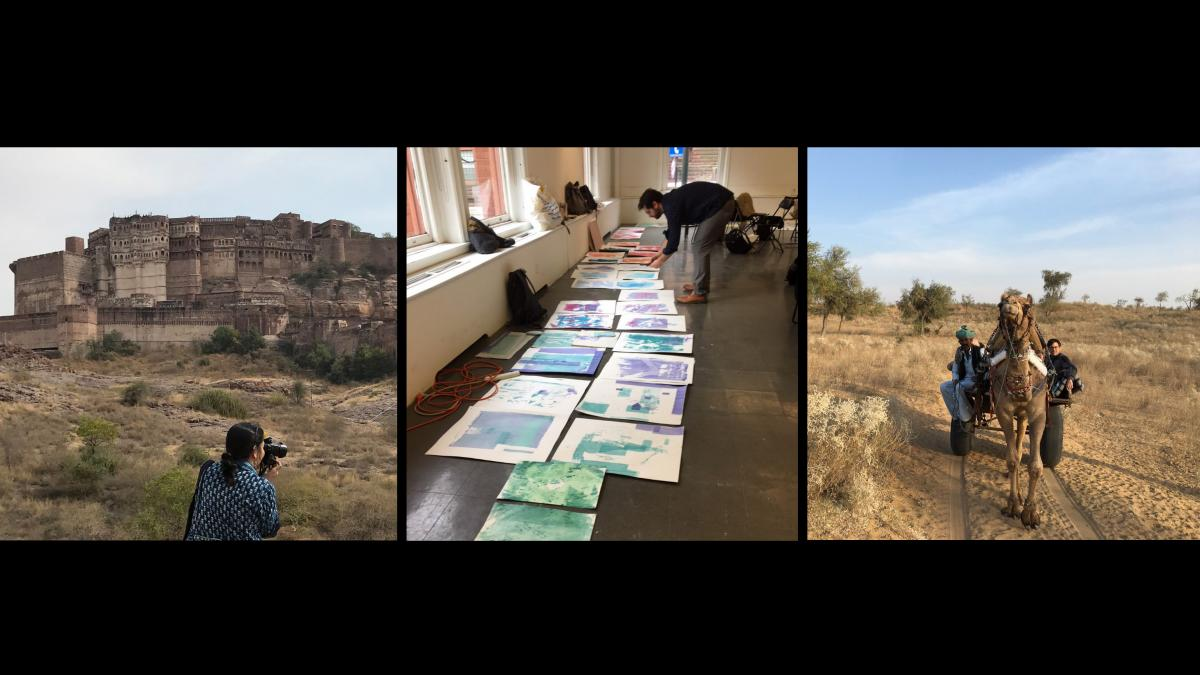 Mathur documenting the Jodhpur Fort, Neff reviewing prints during the workshop at Penn; Sykes riding up the dunes to a musical performance