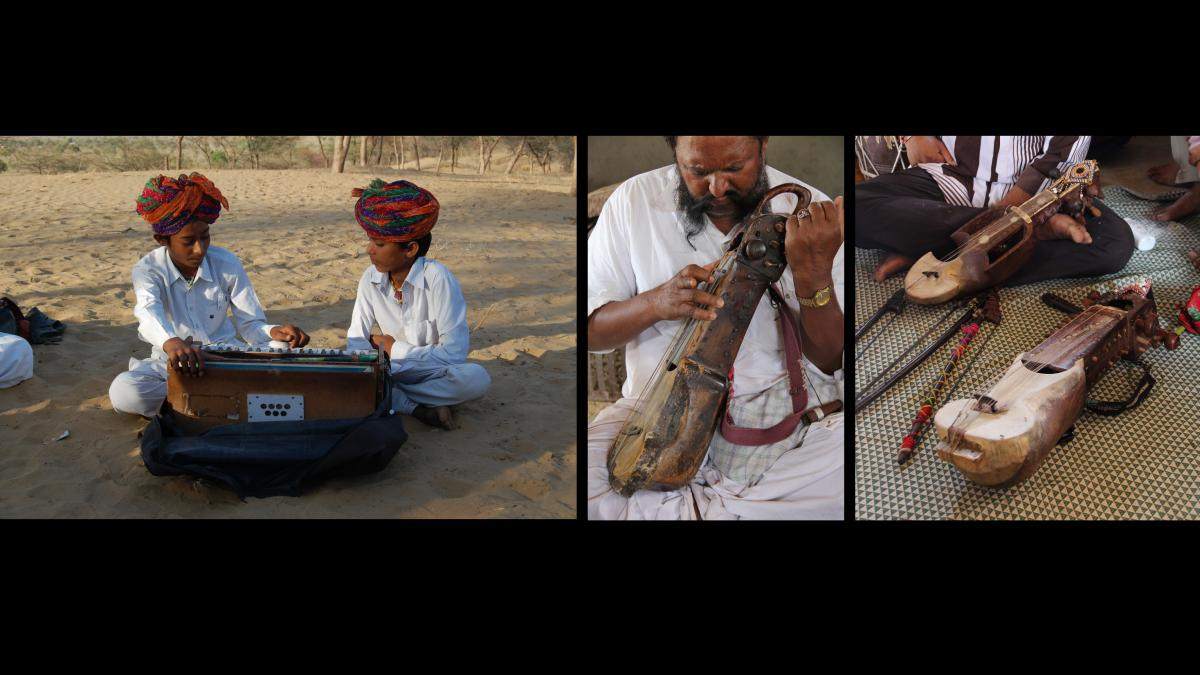 A musical performance by the famous Langa musicians near their village in Barmer district.