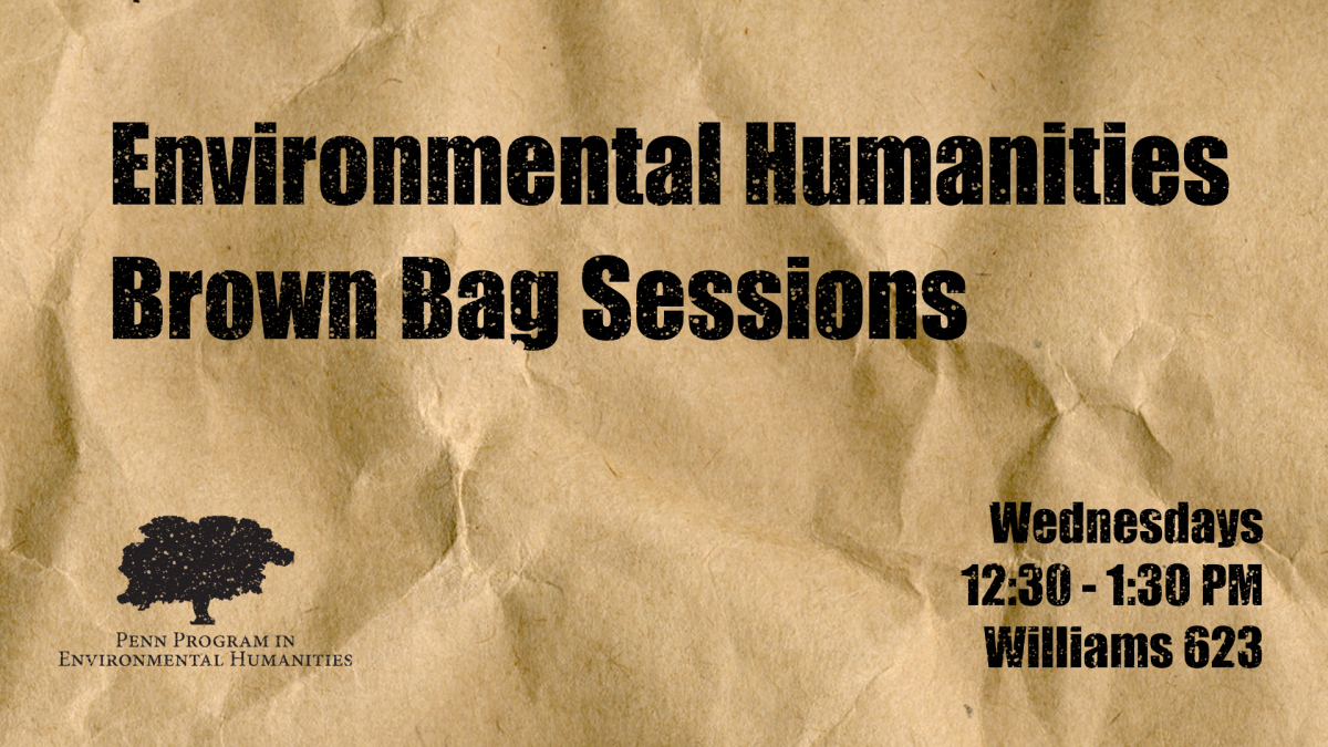 """Environmental Humanities Brown Bag Sessions"" written on a textured brown bag."