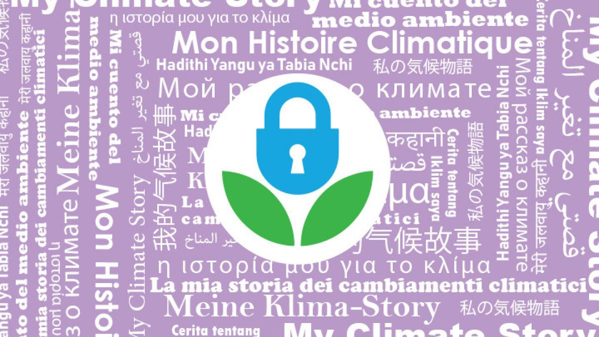"data refuge logo surrounded by lavender background and ""My Climate Story"" in multiple languages"