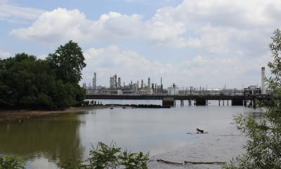 view of the PES refinery from Eastwick