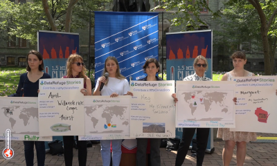 Group of PPEH students fellows and staff with posters launching the #MyClimateStory initiative