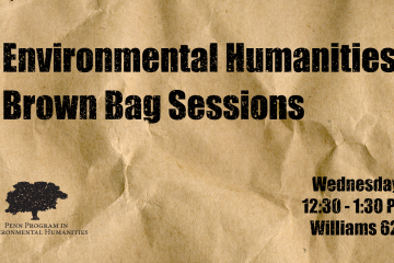 """Environmental Humanities Brown Bag Session"" written on a brown bag texture."