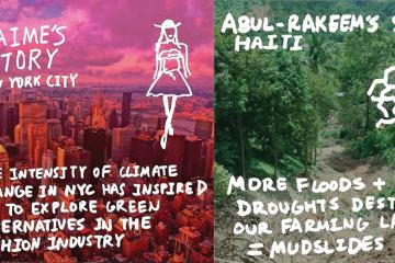 three selected climate stories in blue, pink, and green, and the climate week at penn logo
