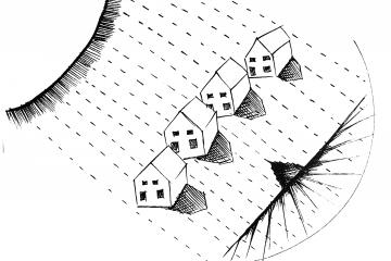black and white drawing of a sun and levitating homes
