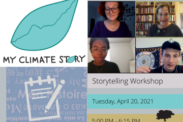 4 people in a Zoom meeting with My Climate Story leaf logo and workshop details