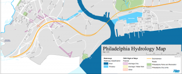 Philadelphia Hydrology Map focused on Mingo Creek (current)