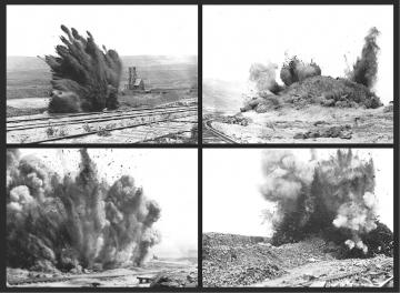 Series of images of land explosions