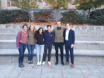 Group of PPEH public research interns outside Houston Hall