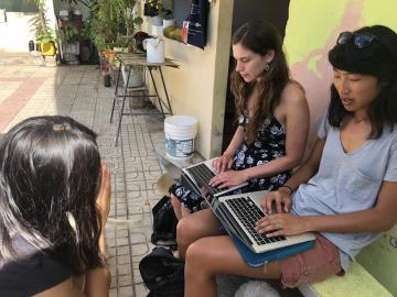 Victoria and Gina interview a local high schooler in order to include adolescent and student perspectives on public health issues present in the San Cristóbal community.