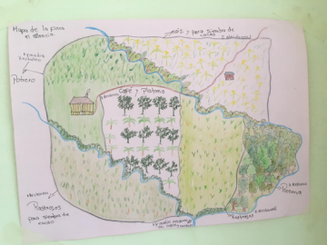Hand drawn map of a farm with crops labeled in Spanish