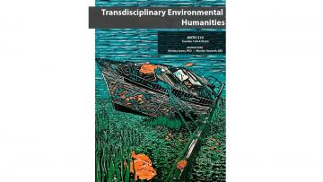 colorful print with blue water, fishing boat and orange fish, with title and course information.