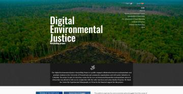 Screenshot of Digital Environmental Justice Platform, lush green Colombian selva with white text overlay