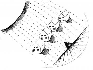 This is a drawing from artist Kristen Neville Taylor, depicting a sun, row of homes, and energy lines