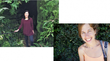 Chantel White and Miranda Mote each standing in front of different greenery